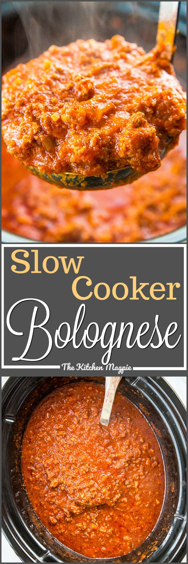 This dreamy slow cooker Bolognese sauce will be a family favourite! It cooks all day long and you end up with a velvety sauce that will change the way you think about sauces! Recipe from @kitchenmagpie via @kitchenmagpie