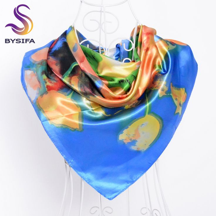 >> Click to Buy << [BYSIFA]90*90cm Blue Polyester Silk Scarf Printed For Women New Brand Women Big Square Silk Scarf Shawl Muslim Head Scarf Echarp #Affiliate