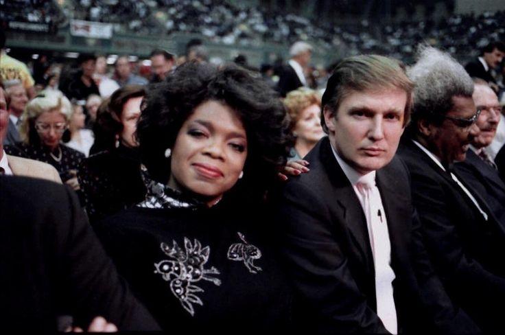 Oprah Winfield y Donald Trump asisten al combate de boxeo Tyson vs. Spinks en Nueva Jersey, 1988