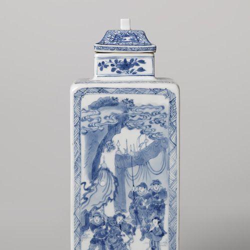 Vierkante fles met verhalende voorstellingen van krijgers in een landschap, anoniem, ca. 1675 - ca. 1699 - Rijksmuseum
