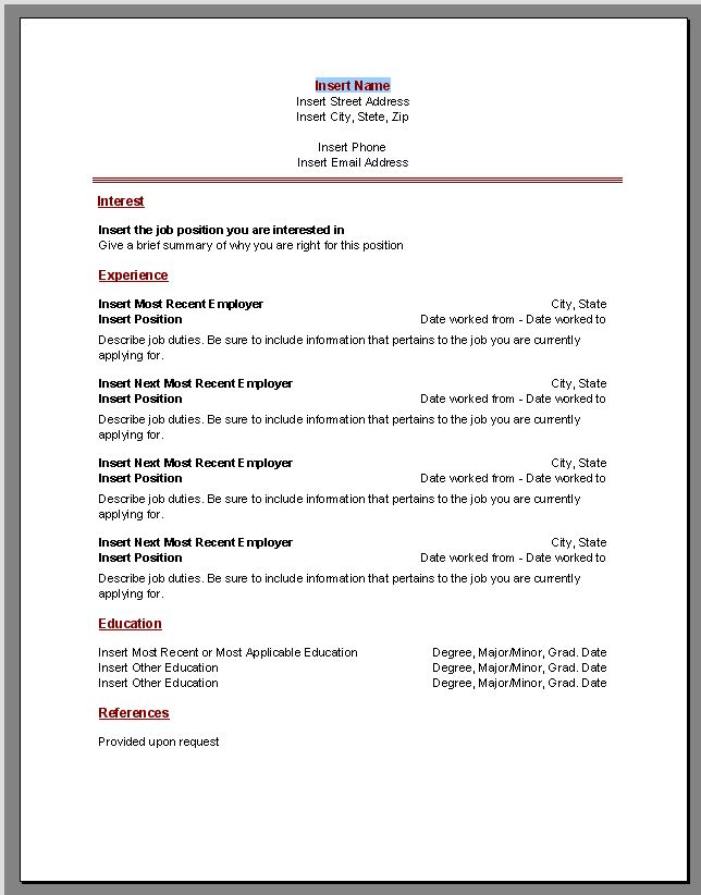 Resume Microsoft Word Template – Microsoft Word Template Resume