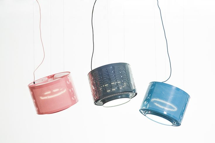 willem heeffer up-cycles washing machine to create drum lamps - designboom | architecture