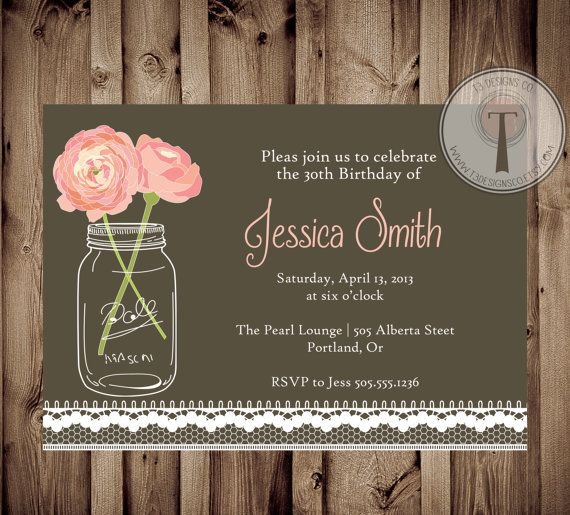 vintage lace birthday invitation, mason jar invitation, elegant,