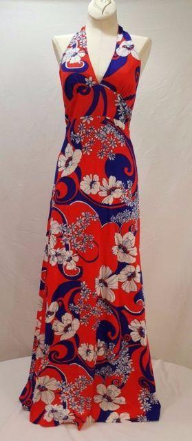 7bb1901165d40 Vintage Hawaiian Halter Dress Size 8 Maxi Aloha Tiki Boho Beach Resort  Floral | eBay