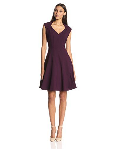 Calvin Klein Women's Fit and Flare Dress, Aubergine, 6