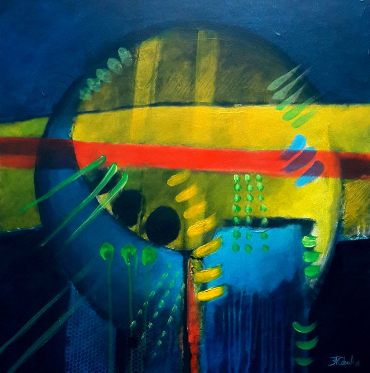 """JUAN FERNANDO COBO A. """"Luna Azul"""" 60 x 60 cm. Acrílicos sobre tabla 2014"""