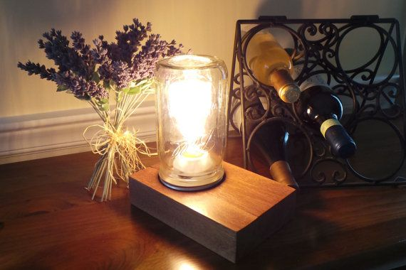Edison Style lamp Handmade from Epay Wood  by nealworksltd on Etsy