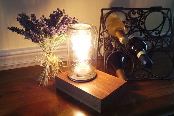Edison Style lamp Handmade from Epay Wood  by nealworksltd on Etsy