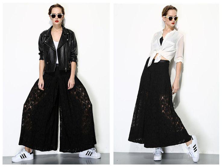 zwarte wijde pijpen broek - 1512 van Q&A Fashion op DaWanda.com