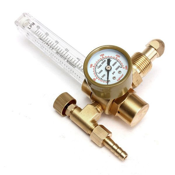 Pressure Reducer Mig Tig Flow Meter Control Valve Regulator For Gauge Welding Gas Co2 Argo. Description:   Pressure Reducer Mig Tig Flow Meter Control Valve Regulator for Gauge Welding Gas CO2 Argon    Features:    The pressure gauge which shows how much gas is left in the tank goes from 0 to 4000 psi.  And this flowmeter does not use a diaphragm,so it is more reliable than the flow-gauge style regulators.  The output flow is adjustable from 10 to 60 cfh (cubic feet per hour),and…
