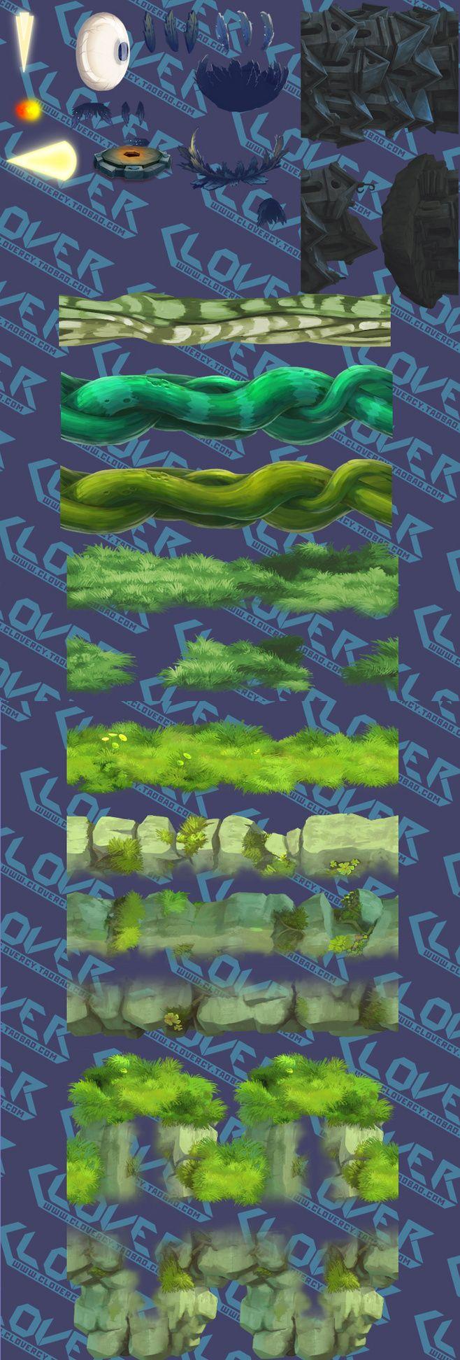 游戏原画资源/2D场景素材/横版地图配件...