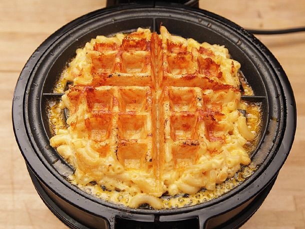 Macaroni and cheese waffles. Replace batter with macaroni and cheese. Gooey center of melted cheese. Must try.