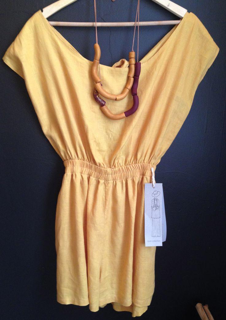 100% linen Short jumpsuit
