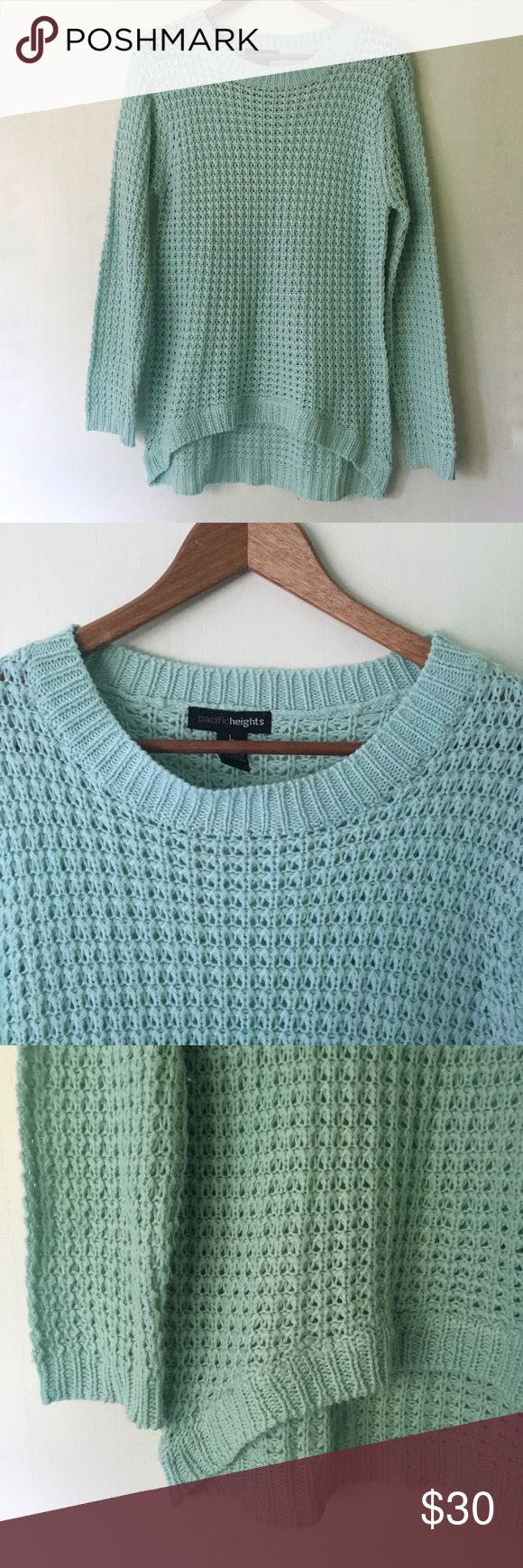 """Pacific Heights // Open Knit Mint Sweater Add a layer to your outfit with this sweater from Pacific Heights. Mint colored. Open weave knit. High low hemline. Long sleeves. Extra comfy. In excellent condition.   Measurements (approx): Bust 36"""" Waist 34"""" Hips 38"""" Length 25"""" front, 29"""" back Pacific Heights Sweaters Crew & Scoop Necks"""