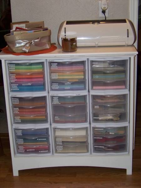Terri Wells this is for you!!! Scrapbook paper storage or craft supplies- organizers stacked in dresser without drawers!