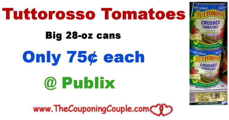 Tuttorosso Tomatoes ~ Big 28-oz Cans Only $0.75 @ Publix through 1/2  or 1/3/18. Be sure to check out this deal and add  to your shopping list this week!  Click the link below to get all of the details ► http://www.thecouponingcouple.com/tuttorosso-tomatoes-big-28-oz-cans-only-0-75-publix/ #Coupons #Couponing #CouponCommunity  Visit us at http://www.thecouponingcouple.com for more great posts!