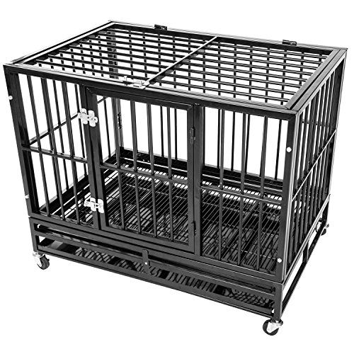 I just used this last weekend  Merax Heavy Duty Dog Kennel Pet Crate Dog Cage Black/Silver (42″Black (42″L X 30″W X 34″H)) follow this link click here http://bridgerguide.com/merax-heavy-duty-dog-kennel-pet-crate-dog-cage-blacksilver-42black-42l-x-30w-x-34h/ for much more detail about it. Thanks and please repin if you like it. :)