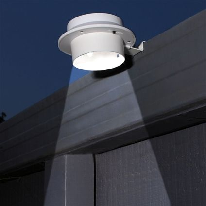 Solar Gutter Lights  $39.95 Doesn't need electrician. Traditional outdoor security lights can be expensive to install and run. These are water-resistant 12cm diameter lights clip to your guttering? Ruggedly made from metal and plastic, they're solar powered, so they come on automatically at dusk at no extra cost. They'll also light your paths and doors for added safety – they're easy to attach to a wall, shed or fence. Two solar lights included.