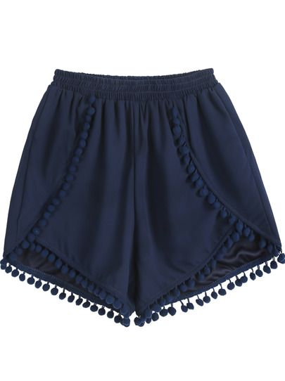 Navy Elastic Waist Twisted Ball Embellished Shorts pictures