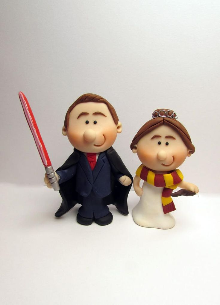Bride and groom wedding cake topper star wars and harry