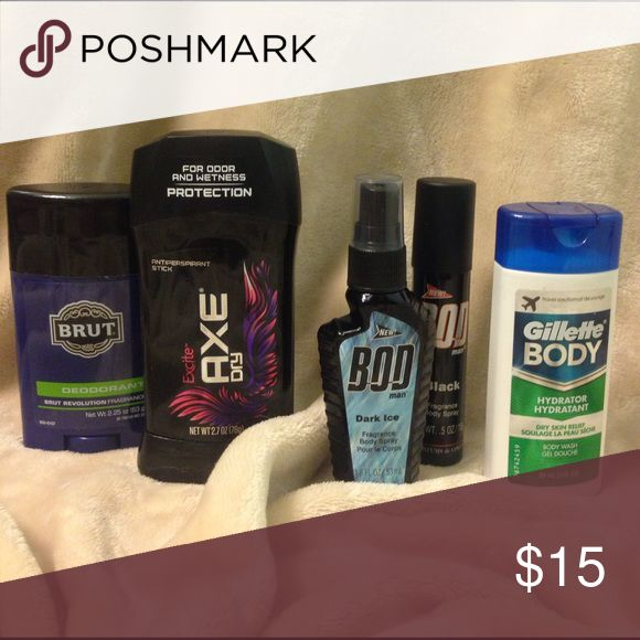 Men's Gift Set All items are brand new, never opened! Treat yourself or someone you love to this awesome Gift Set! Included is one 2.25 oz BRUT deodorant, one 2.7 oz Excite AXE Dry deodorant, one 1.8 oz BOD Man Dark Ice body spray, one .5 oz BOD Man Black body spray as well as one 3 oz Gillette BODY wash! BRUT Other