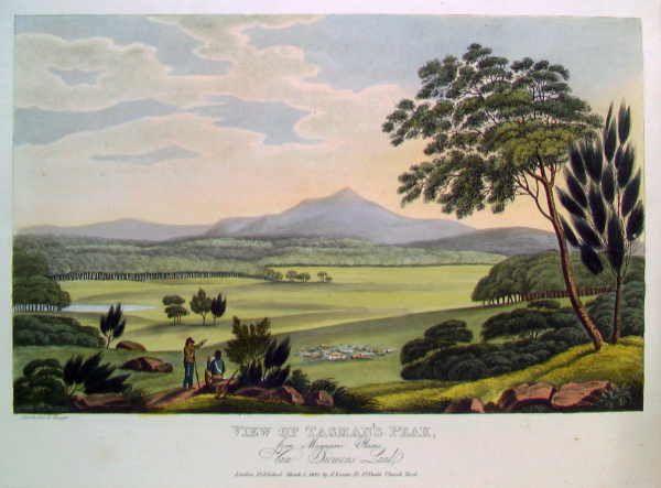 Lycett, Joseph, ca. 1775-1828.  View of Tasman's Peak, from Macquarie Plains, Van Diemen's Land [picture]  London (73 St. Paul's Church Yard) : Published by J. Souter, 1st Mar. 1825. 1 print : aquatint, hand col. ; plate mark 23 x 33 cm.