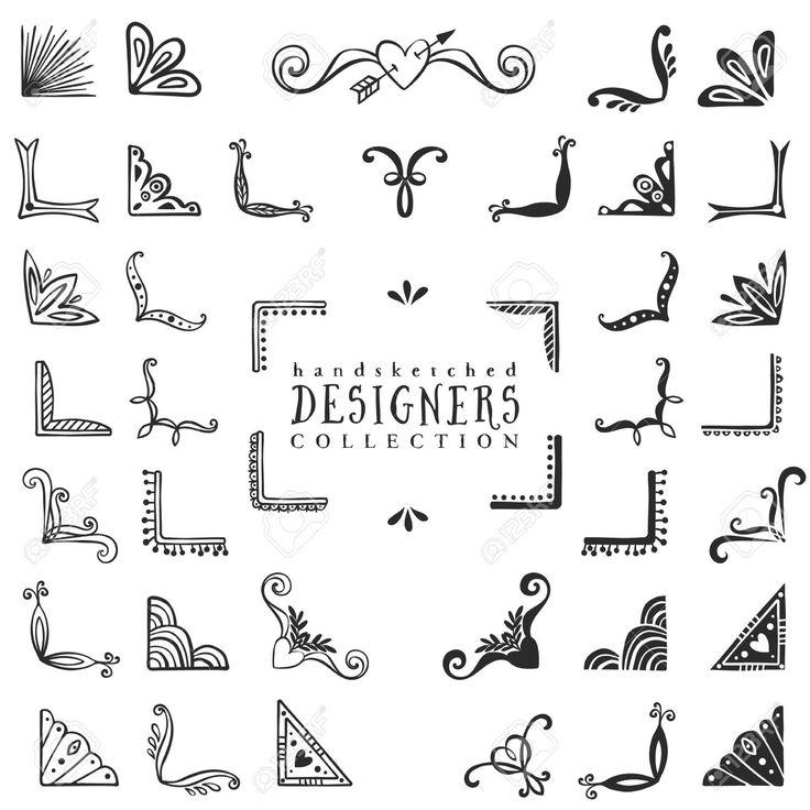 36827207-Vintage-decorative-corners-collection-Hand-drawn-vector-design-elements--Stock-Vector.jpg (1300×1300)