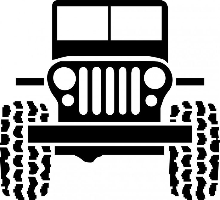 Black And White Jeep Cartoon