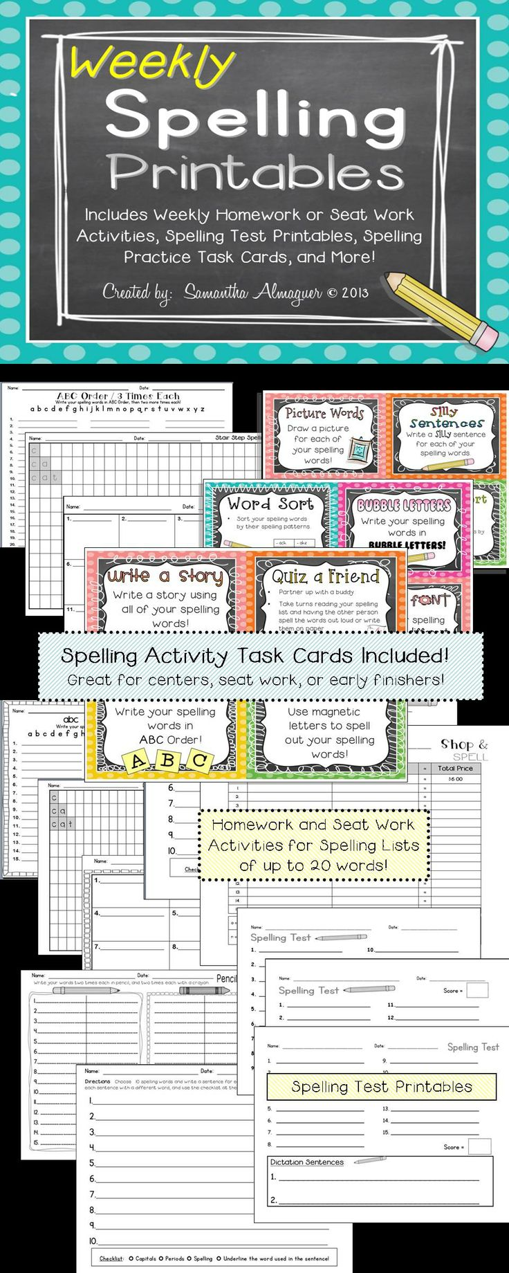 Great spelling activities for lists of up to 20 words, Spelling Test Templates, and Spelling Activity Task Cards!  Everything you need all in one spot, and only $3.00!