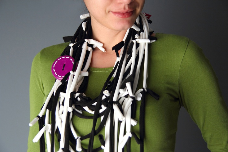 Loop SCARF/NECKLACE in black and white with extra handmade brooch in purple. $18.00, via Etsy.