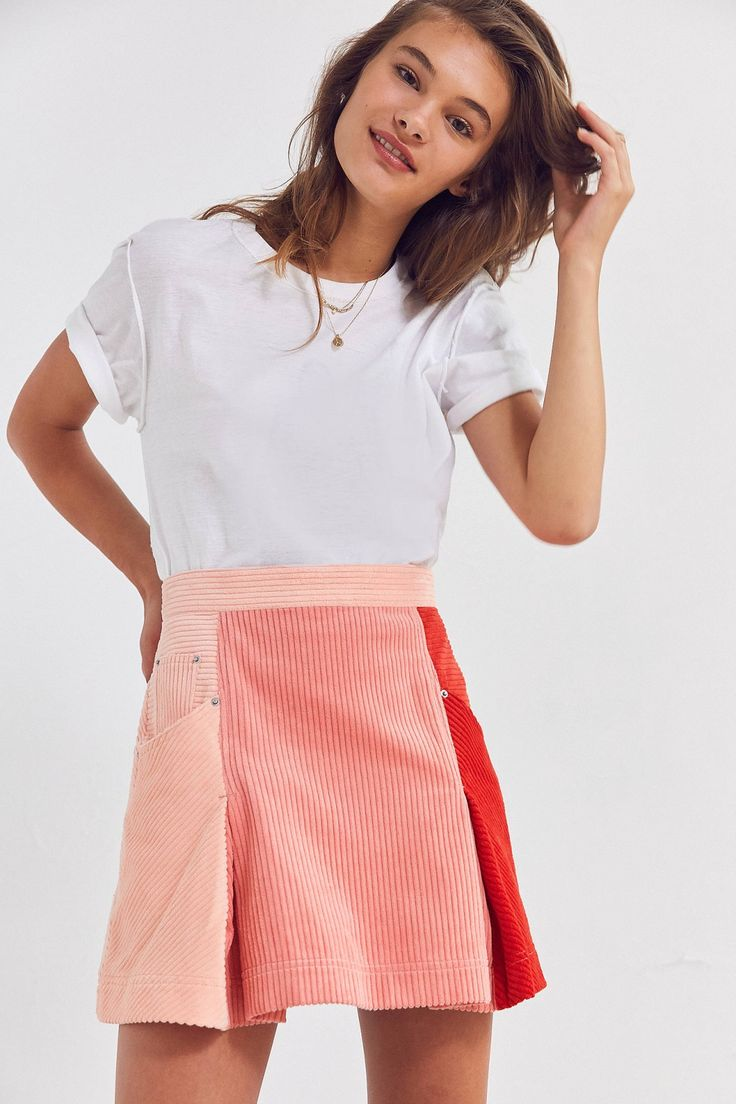 BDG Colorblock Corduroy Mini Skirt | Urban Outfitters