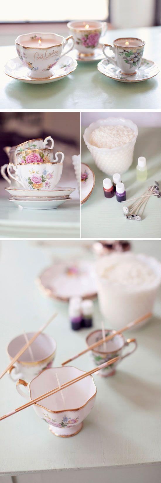 Vintage Teacup Candles | Click Pic for 22 DIY Christmas Gift Ideas for Mom | Handmade Christmas Gifts for Grandma