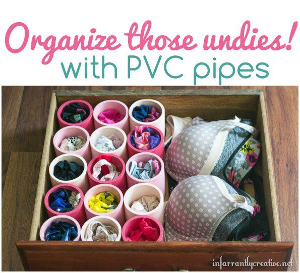 DIY Ideas   DIY Projects   Home Organization Tips   Organize those undies with PVC pipes!