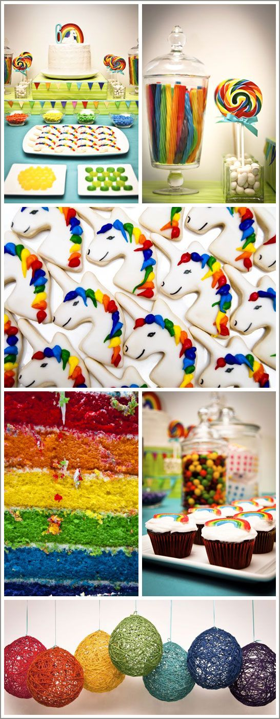 ^_^ I want for my 30th birthday!!! Unicorn and rainbow. Activities included face painting, a t-shirt craft project and a treasure hunt for the pot of gold at the end of the rainbow! Guests were asked to come dressed all in one color so together they made yet another rainbow. How adorable is that?!?