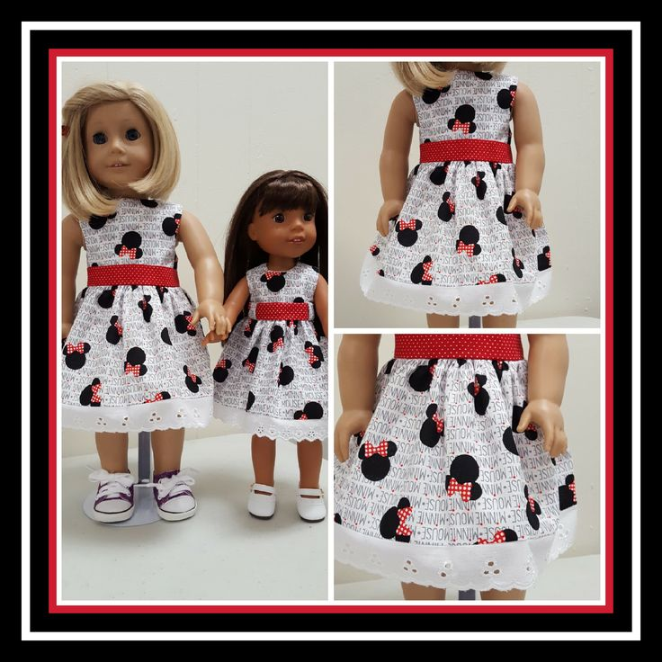 Handmade Doll Clothes for Wellie Wishers and American Girl. https://mysistersdollclothes.patternbyetsy.com/?utm_content=bufferfeac9&utm_medium=social&utm_source=pinterest.com&utm_campaign=buffer  #welliewisher #americangirl #dollshoes #minniemouse