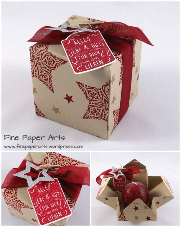 GESCHENKBOX KUGELKERZE – mit dem Stanz- und Falzbrett für Geschenkschachteln Eigentlich wollte ich Euch schon vor ein paar Tagen diese weihnachtliche Geschenkverpackung zeigen…ich bin aber leider nich