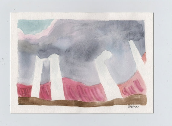 Watercolor painting  Last Cloud Of The Day by ConstructiveLaziness, €20.00