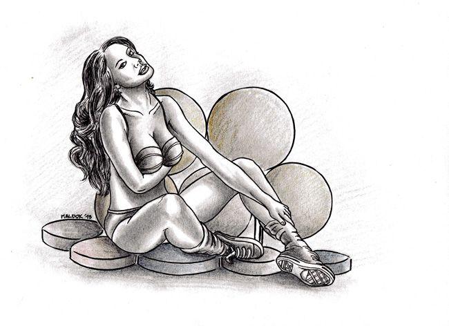 Woman #3 (2013) Tinta + Lapices Grafito sobre papel / Ink + Graphite pens over paper 21x32cm