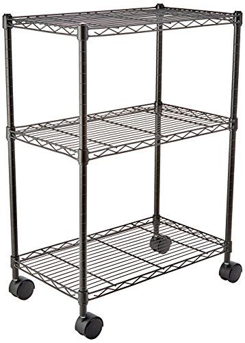 AmazonBasics 3-Shelf Shelving Unit on Wheels - Black