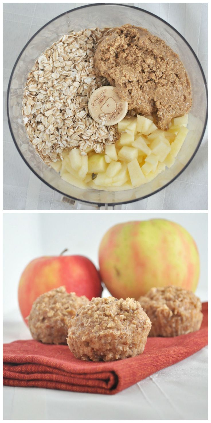 Flourless Apple Almond Muffins. 6 simple ingredients and 10 minutes to bake. Zero refined sugar and totally delicious. Vegan and gluten free.