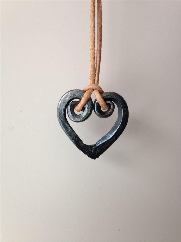 Heart shape pendant. Hand forged in Helsinki.