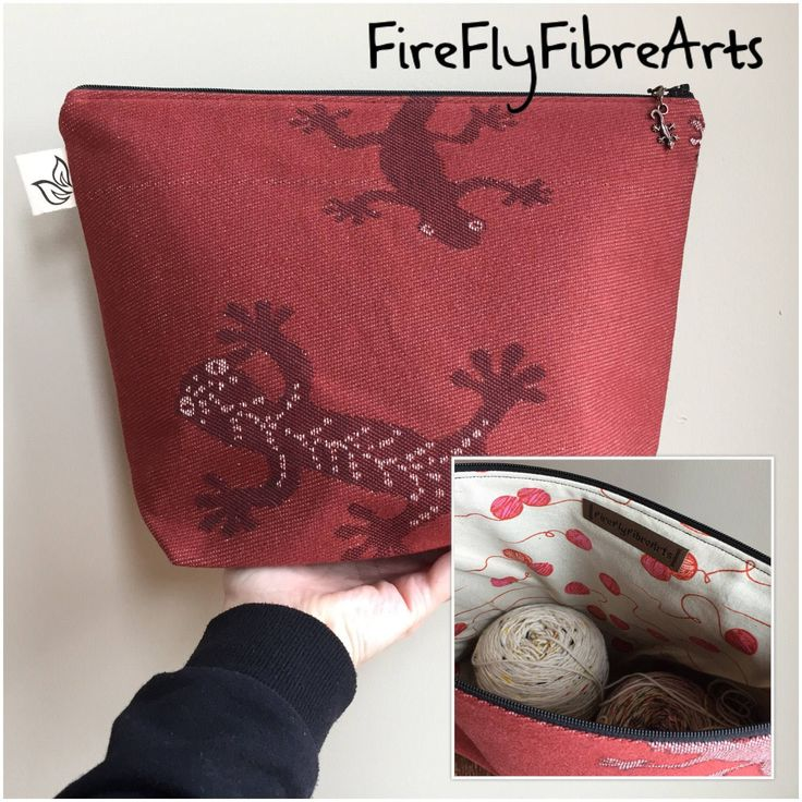 Large Lizard Woven Fabric Bag Zippered Purse Lizard Charm Knitting Project Bag Large Size Bag 2-3 Skein Bag by FireFlyFibreArts on Etsy