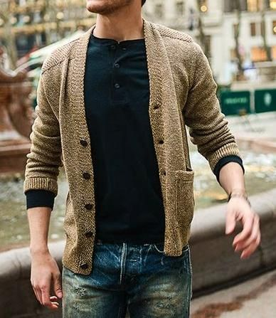 I like how the under shirts comes out and end of cardigan sleeves