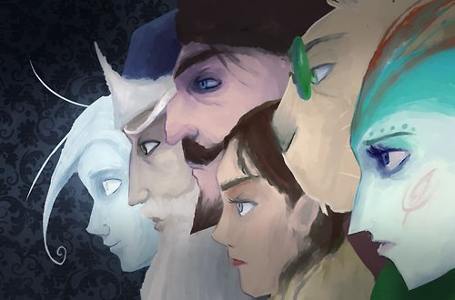 Nightlight, Ombric, North, Katherine, Bunnymund, and Tooth. Guardians of Childhood series!!!