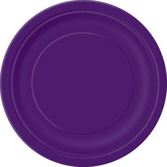 "9"" Dark Purple Dinner Plates, 16ct"