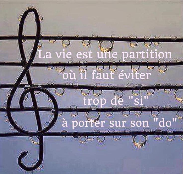 """La vie est une partition où il faut éviter trop de """"si"""" à porter sur son """"do"""". #citation #citationdujour #proverbe #quote #frenchquote #pensées #phrases #french #français"""