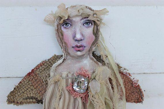 original textile fiber wall ooak art doll by fadedwest on Etsy