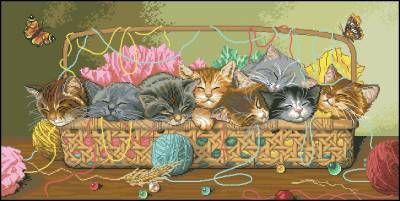 Маленькие котята - Домашние кошки - Схемы вышивки - Каталог схем - Ларчик рукоделия