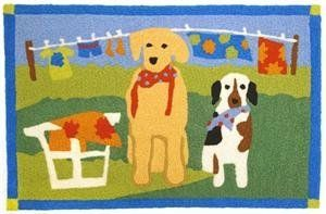 Wash Day Doormat-Jellybean Rug by Home Comfort. $27.00. Indoor or Outdoor. Vibrant fade resistant color. Made from 35% recycled materials. Machine Washable. Need help with the laundry? This attentive duo, sporting freshly pressed bandanas, stands ready to assist! These indooroutdoor doormats are part of a collection of rugs designed by many well known artists. Special patented construction keeps poly-blend twisted yarns in a hooked technique which prevents picking or pullin...
