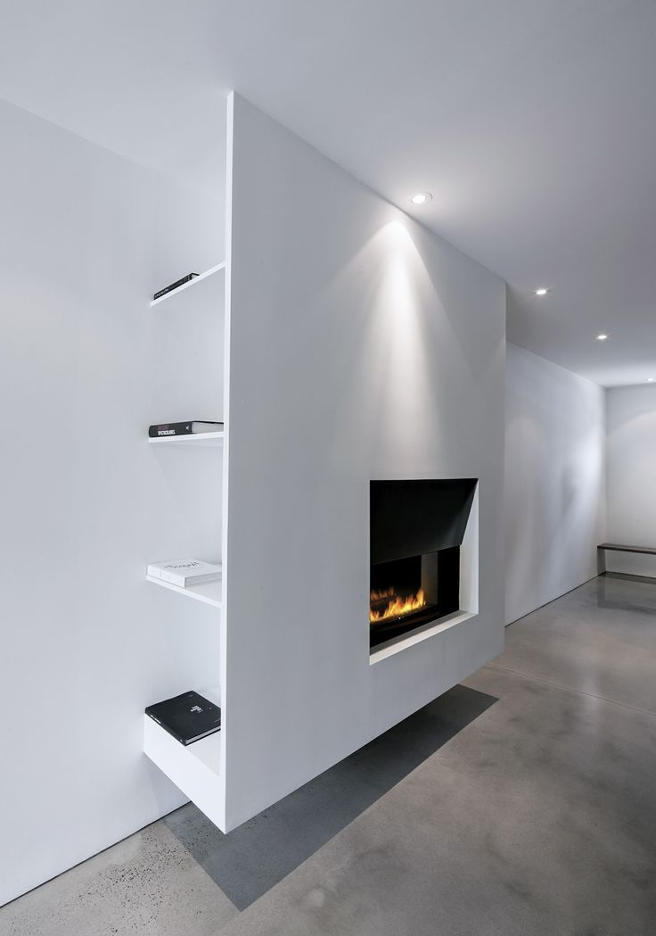 Fireplace in a minimalistic space.